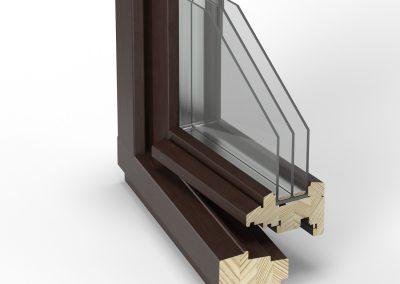 wizualizacja przekroju okna drewnianego dla Stollar