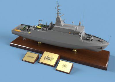 Wizualizacja okrętu Kormoran 2 w formie plastikowego modelu