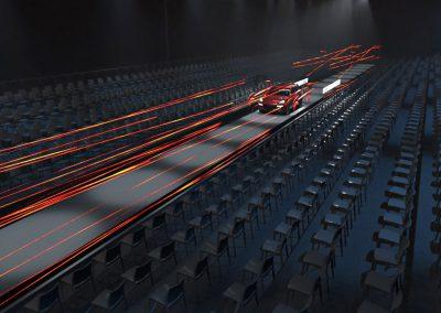 wizualizacja koncepcji budowy sceny na premierę Porsche