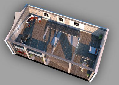 rzut schematyczny aranżacji budynku