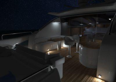 Wizualizacja jachtu nocą